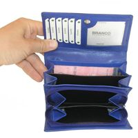 Branco – Large wallet / purse size L for women, made out of leather, royal blue, model 265-2