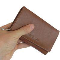 Branco – Große Geldbörse / Portemonnaie Größe L für Damen, aus Leder, Braun, Modell 265