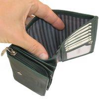 Branco, 265 - Mittelgroße Geldbörse bzw. mittelgroßes Portemonnaie für Damen aus Leder in grün, Detailansicht Geldscheinfach - 03