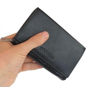 Branco – grand porte-monnaie pour femme / portefeuille taille L, en cuir, noir, modèle 265