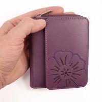 Branco – Große Geldbörse / Elegantes Portemonnaie Größe L für Damen aus Leder, Violett-Beere, Modell 29742