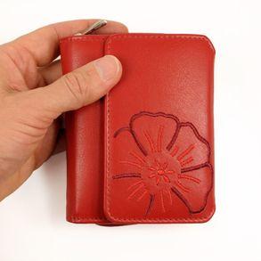Branco, 29742 - Schicke Geldbörse bzw. schickes Portemonnaie aus Leder für Damen in rot, Frontansicht - 01