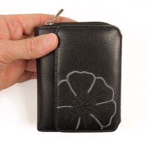 Branco, 29742 - Schicke Geldbörse bzw. schickes Portemonnaie aus Leder für Damen in schwarz, Frontansicht - 01