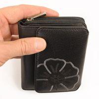 Branco, 29742 - Schicke Geldbörse bzw. schickes Portemonnaie aus Leder für Damen in schwarz, Detailansicht Münzfach mit Reißverschluss - 05