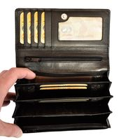 Branco – Very large wallet / purse size XL for women made out of Nappa leather, black, model 29918-2