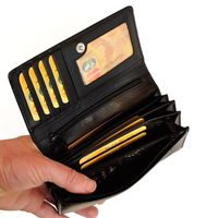 Branco – Very large wallet / purse size XL for women made out of Nappa leather, black, model 29918-3