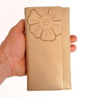 Branco – Very large wallet / purse size XL for women made out of Nappa leather, beige taupe, model 29918