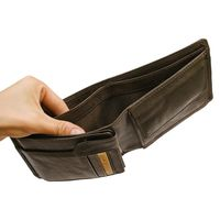 Hamosons – Large wallet / billfold size L for men, made out of leather, horizontal format, brown, model 107