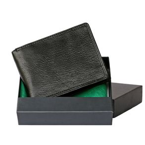 Hamosons – Large wallet / billfold size L for men, made out of leather, horizontal format, black, model 107