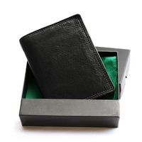 Hamosons – Large wallet / billfold size L for men, made out of leather, upright format, black, model 106-1