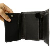 Hamosons – Large wallet / billfold size L for men, made out of leather, upright format, black, model 106-4