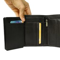 Hamosons – Large wallet / billfold size L for men, made out of leather, upright format, black, model 106-3