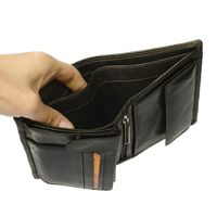 Hamosons – Large wallet / billfold size L for men, made out of leather, upright format, black, model 106-5