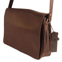 Branco – Women's handbag size M / shoulder bag made out of real leather, brown, model 5584