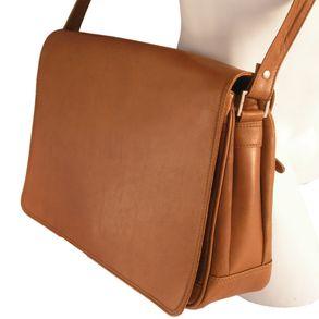 Branco 5584 - Mittelgroße, cognacbraune Handtasche bzw. Umhängetasche, Seitenansicht - 01