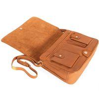 Branco 5584 - Mittelgroße, cognacbraune Handtasche bzw. Umhängetasche, Aufsicht auf geöffnete, liegende Tasche - 02