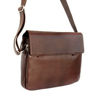 Branco – Elegant laptop shoulder bag size L / notebook bag up to 15.6 inches, made out of leather, brown, model br170