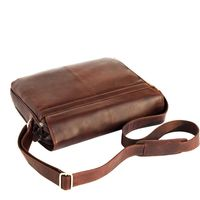 Branco – Elegant laptop shoulder bag size L / notebook bag up to 15.6 inches, made out of leather, brown, model br170-2
