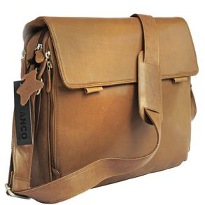 Branco – Elegant laptop shoulder bag size L / notebook bag up to 15.6 inches, made out of leather, cognac brown, model br170