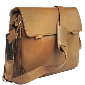 Branco, br170  - Elegante, cognac-braune Laptoptasche bzw. Notebooktasche, Seitenansicht - 01