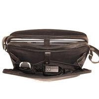 Branco – Elegant laptop shoulder bag size L / notebook bag up to 15.6 inches, made out of leather, black, model br170
