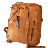 Branco, br171 - Eleganter, Cognac-brauner Lederrucksack bzw. Laptop Rucksack, Rückansicht - 02