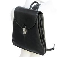 Branco – Small city bag size S / handbag backpack made out of leather, black, model br96-1
