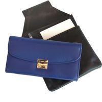 Hamosons, 1015 - Azurblaue Profi Kellnerbörse bzw. Kellnertasche, Frontansicht zusammen mit schwarzem Kellnerholster - 04