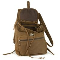 Hamosons – Medium sized leather backpack / city bag size M made out of buffalo leather, brown, model 512