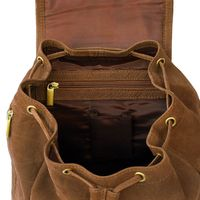 Hamosons – Medium sized leather backpack / city bag size M made out of buffalo leather, brown, model 512-5