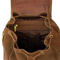 Hamosons 512 - Mittelgroßer, brauner Lederrucksack bzw. Cityrucksack, Büffelleder, Aufsicht geöffnet, Fokus auf inneres Reißverschlussfach - 04