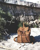 Hamosons – Medium sized leather backpack / city bag size M made out of buffalo leather, brown, model 512-10