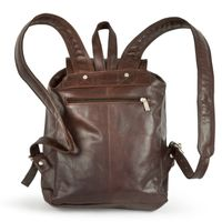 Hamosons – Medium sized leather backpack / city bag size M made out of oiled leather, chestnut brown, model 512-5