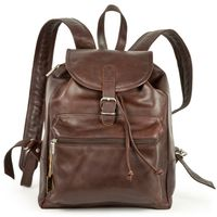 Hamosons – Medium sized leather backpack / city bag size M made out of oiled leather, chestnut brown, model 512-2