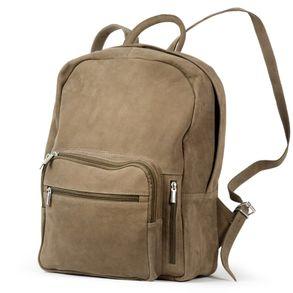 Hamosons 513 – Großer, beige-Brauner Lederrucksack bzw. Laptop Rucksack aus Büffelleder, Seitenansicht - 01