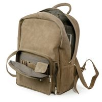 Hamosons – Large leather backpack size L / laptop backpack up to 15.6 inches, made out of buffalo leather, tan, model 513-3