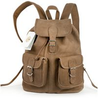 Hamosons – Medium sized leather backpack / city bag size M made out of buffalo leather, tan, model 559