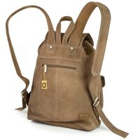 Hamosons – Medium sized leather backpack / city bag size M made out of buffalo leather, tan, model 559-6