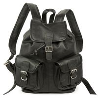 Hamosons – Medium sized leather backpack / city bag size M made out of nappa leather, black, model 559-2