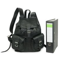 Hamosons – Medium sized leather backpack / city bag size M made out of nappa leather, black, model 559-3