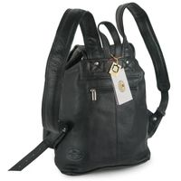 Hamosons – Medium sized leather backpack / city bag size M made out of nappa leather, black, model 559-5