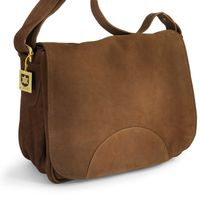 Hamosons – Women's handbag size M / shoulder bag in a retro look made out of buffalo leather, brown, model 577