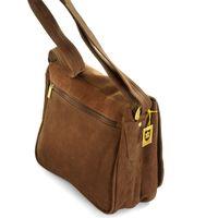 Hamosons Büffelleder 577 - Braune Damen Handtasche bzw. Umhängetasche, Rücksansicht - 02