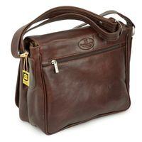 Hamosons, geöltes Leder 577 - Kastanien-Braune Damen Handtasche bzw. Umhängetasche, Rückansicht - 07