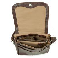 Hamosons – Damen-Handtasche Größe M / Umhängetasche im Retro-Look aus geöltem Leder, Kastanien-Braun, Modell 577