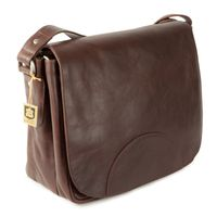 Hamosons – Women's handbag size M / retro style shoulder bag made out of oiled leather, chestnut brown, model 577