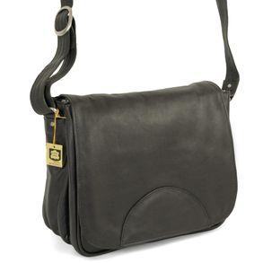 Hamosons Nappaleder 577 - Schwarze Damen Handtasche bzw. Umhängetasche, Seitenansicht - 01