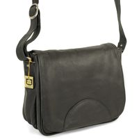 Hamosons – Women's handbag size M / shoulder bag in a retro look made out of Nappa leather, black, model 577