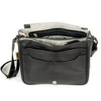 Hamosons Nappaleder 577 - Schwarze Damen Handtasche bzw. Umhängetasche, Aufsicht geöffnet - 02