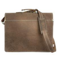 Hamosons, 600 - Klassische, matt-braune Aktentasche bzw. Lehrertasche, Rückansicht - 05